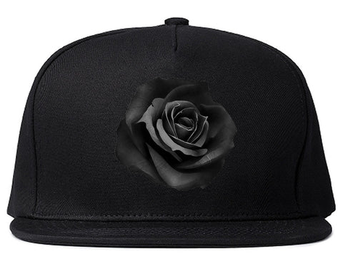 Noir Rose Flower Chest Logo Snapback Hat By Kings Of NY