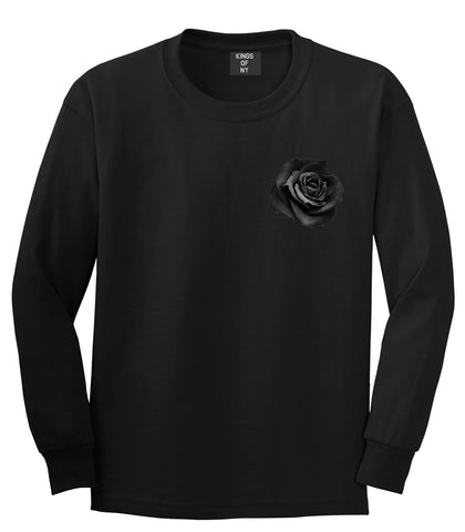 Black Noir Rose Flower Chest Logo Long Sleeve T-Shirt in Black By Kings Of NY