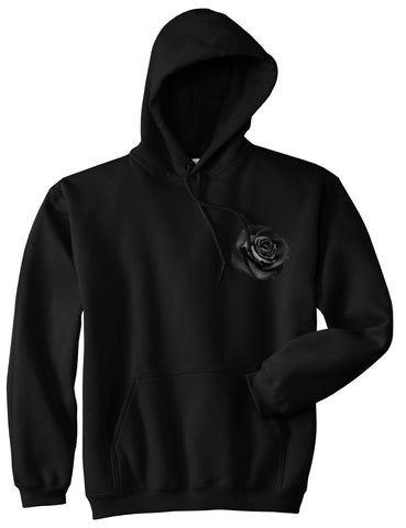 Black Noir Rose Flower Chest Logo Pullover Hoodie in Black By Kings Of NY