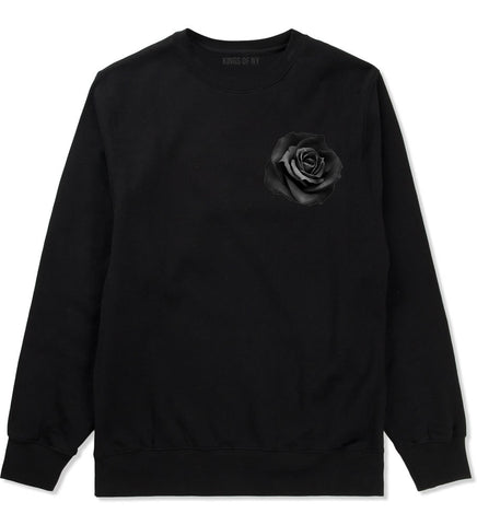 Black Noir Rose Flower Chest Logo Crewneck Sweatshirt in Black By Kings Of NY