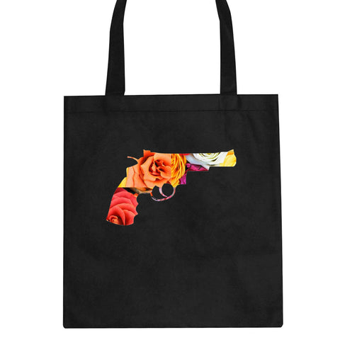 Floral Gun Flower Print Colt 45 Revolver Tote Bag By Kings Of NY