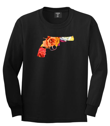 Floral Gun Flower Print Colt 45 Revolver Long Sleeve T-Shirt In Black by Kings Of NY