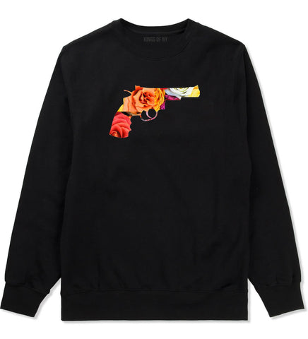 Floral Gun Flower Print Colt 45 Revolver Crewneck Sweatshirt In Black by Kings Of NY