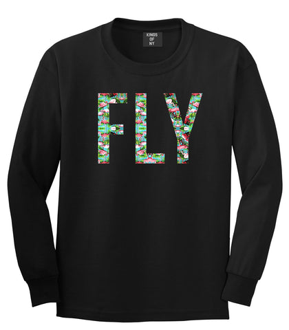 FLY Flamingo Print Summer Wild Society Long Sleeve T-Shirt In Black by Kings Of NY