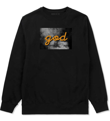 God Up In Smoke Puff Goth Dark Crewneck Sweatshirt in Black By Kings Of NY