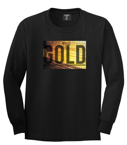 Gold Bricks Money Luxury Bank Cash Long Sleeve T-Shirt In Black by Kings Of NY