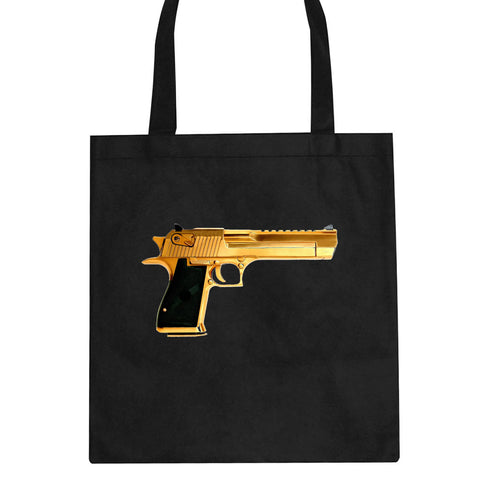Gold Gun 9mm Revolver Chrome 45 Tote Bag By Kings Of NY