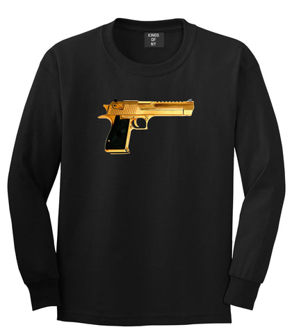 Gold Gun 9mm Revolver Chrome 45 Long Sleeve T-Shirt In Black by Kings Of NY