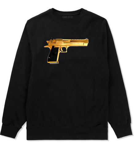 Gold Gun 9mm Revolver Chrome 45 Crewneck Sweatshirt In Black by Kings Of NY