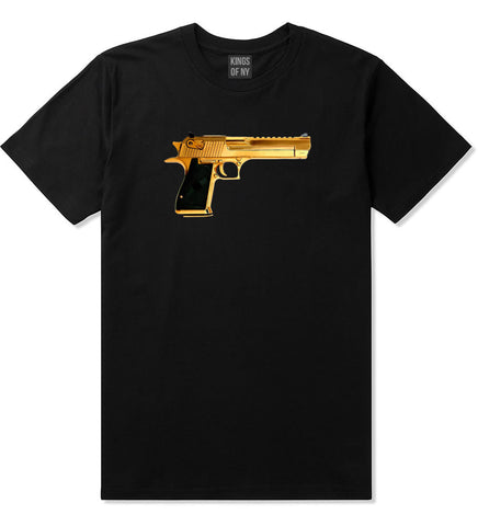 Gold Gun 9mm Revolver Chrome 45 T-Shirt In Black by Kings Of NY
