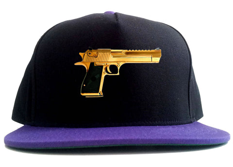 Gold Gun 9mm Revolver Chrome 45 2 Tone Snapback Hat By Kings Of NY