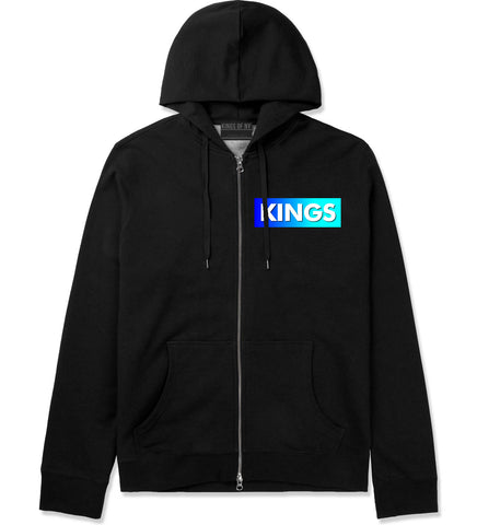 Kings Blue Gradient Zip Up Hoodie Hoody in Black by Kings Of NY