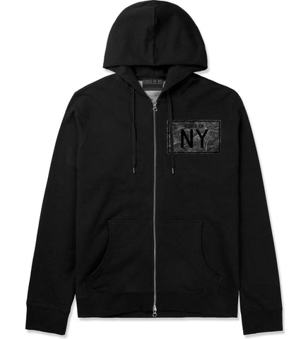 Granite NY Logo Print Zip Up Hoodie Hoody in Black by Kings Of NY