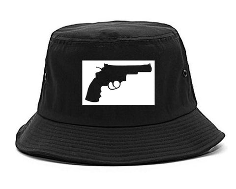 Gun Silhouette Revolver 45 Chrome Bucket Hat By Kings Of NY