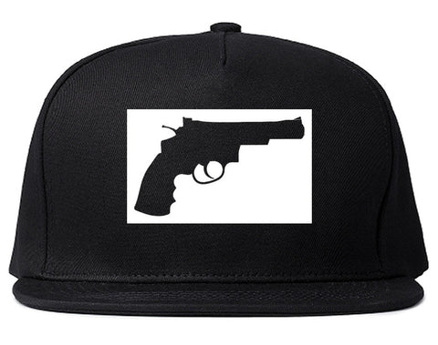 Gun Silhouette Revolver 45 Chrome Snapback Hat By Kings Of NY