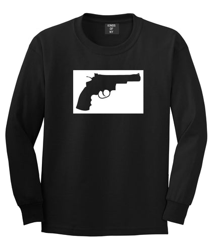 Gun Silhouette Revolver 45 Chrome Long Sleeve T-Shirt in Black By Kings Of NY