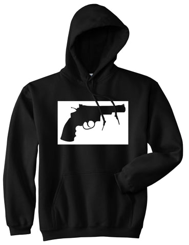Gun Silhouette Revolver 45 Chrome Pullover Hoodie in Black By Kings Of NY