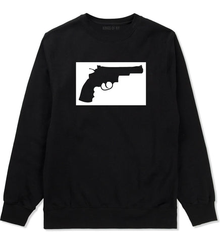 Gun Silhouette Revolver 45 Chrome Crewneck Sweatshirt in Black By Kings Of NY