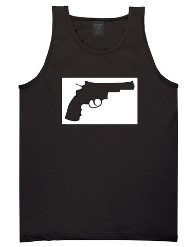 Gun Silhouette Revolver 45 Chrome Tank Top in Black By Kings Of NY