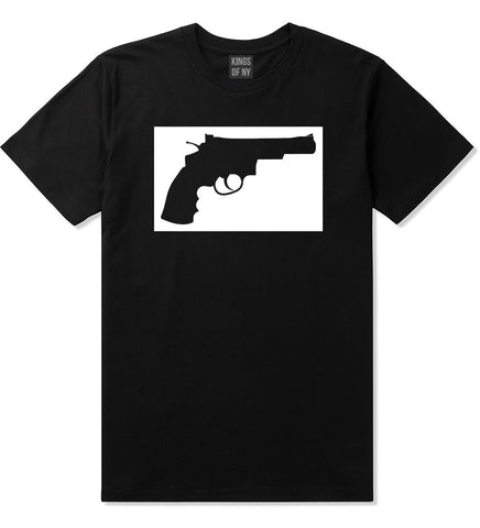 Gun Silhouette Revolver 45 Chrome T-Shirt in Black By Kings Of NY