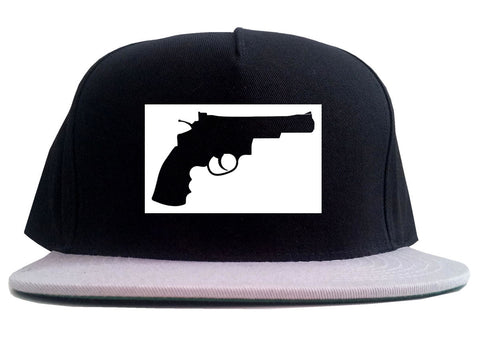 Gun Silhouette Revolver 45 Chrome 2 Tone Snapback Hat By Kings Of NY