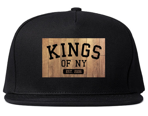 Hardwood Basketball Logo Snapback Hat in Black by Kings Of NY