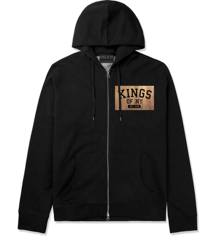 Hardwood Basketball Logo Zip Up Hoodie Hoody in Black by Kings Of NY