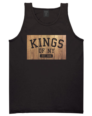 Hardwood Basketball Logo Tank Top in Black by Kings Of NY