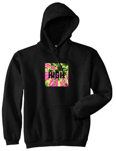 High Pink Tie Dye Pullover Hoodie in Black By Kings Of NY
