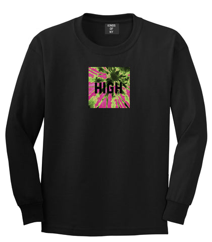 High Pink Tie Dye Long Sleeve T-Shirt in Black By Kings Of NY