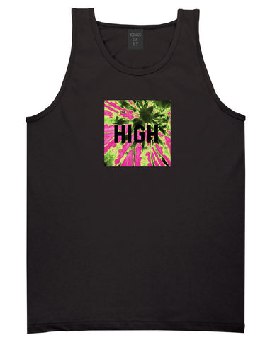High Pink Tie Dye Tank Top in Black By Kings Of NY