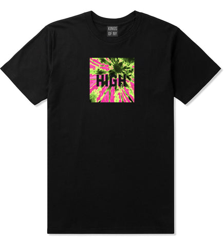 High Pink Tie Dye T-Shirt in Black By Kings Of NY