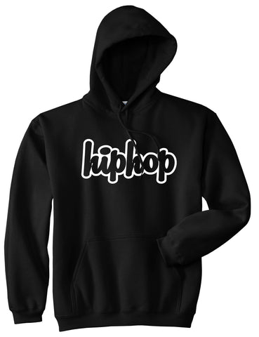 Hiphop Outline Old School Pullover Hoodie in Black By Kings Of NY