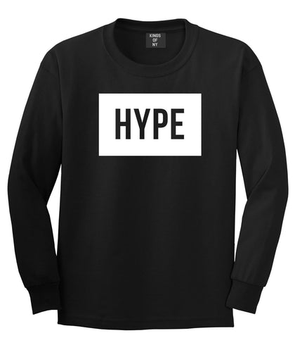 Hype Style Streetwear Brand Logo White by Kings Of NY Long Sleeve T-Shirt In Black by Kings Of NY