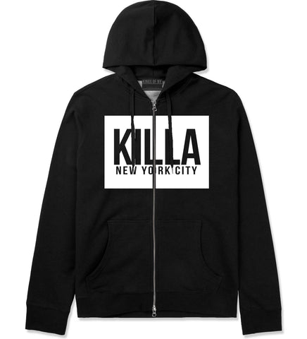 Killa New York City Harlem Zip Up Hoodie Hoody in Black by Kings Of NY