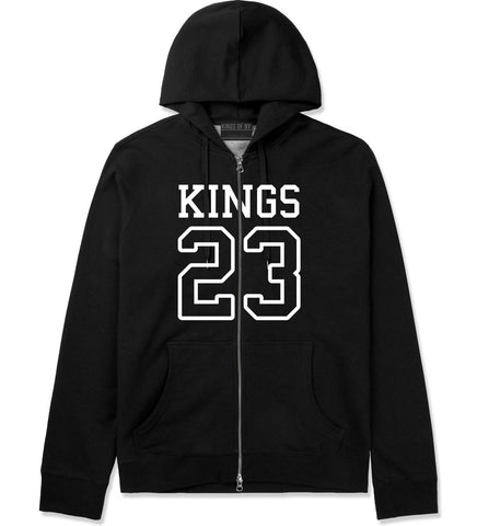 KINGS 23 Jersey Zip Up Hoodie in Black By Kings Of NY