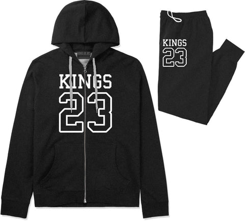KINGS 23 Jersey Premium Sweatsuit in Black By Kings Of NY