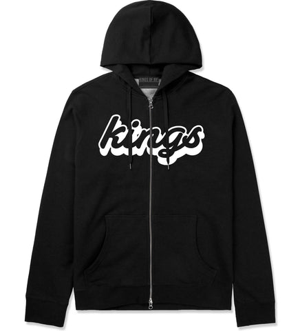 Kings Blue Gradient Logo Zip Up Hoodie in Black By Kings Of NY