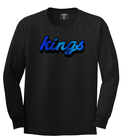 Kings Blue Gradient Logo Long Sleeve T-Shirt in Black By Kings Of NY