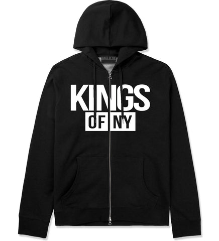 Kings Of NY Logo W15 Zip Up Hoodie in Black By Kings Of NY
