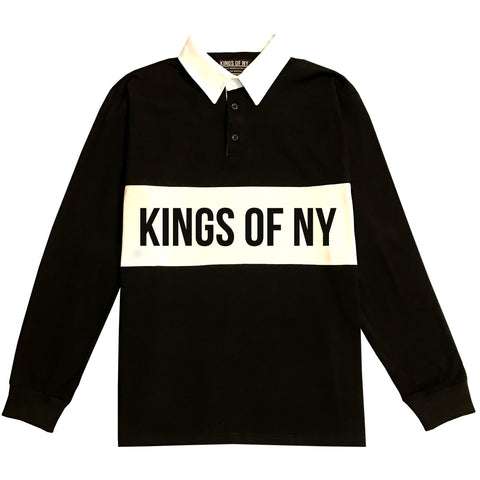 Kings Of NY Branded Long Sleeve Polo Rugby Shirt