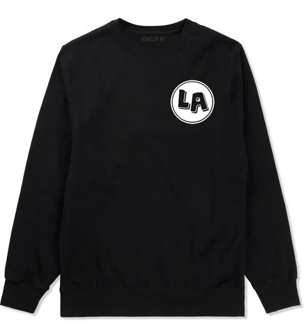 LA Circle Chest Los Angeles Crewneck Sweatshirt in Black By Kings Of NY