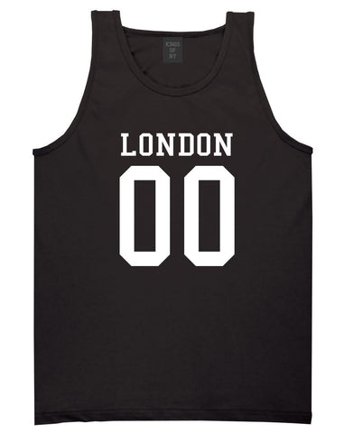 London Team 00 Jersey Tank Top in Black By Kings Of NY