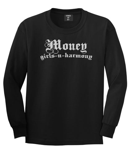 Money Girls And Harmony Long Sleeve T-Shirt in Black By Kings Of NY