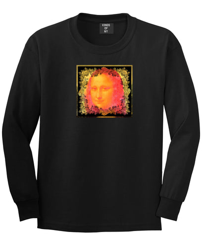 Mona Artwork Art Lisa Wall Painting Long Sleeve T-Shirt In Black by Kings Of NY