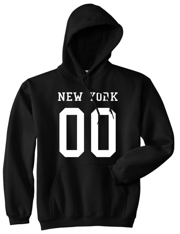 New York Team 00 Jersey Pullover Hoodie in Black By Kings Of NY