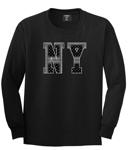 New York Bandana NYC Black by Kings Of NY Gang Flag Long Sleeve T-Shirt In Black by Kings Of NY