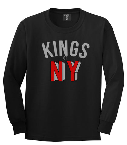 NY Red Block Letter Printed Boys Kids Long Sleeve T-Shirt in Black by Kings Of NY