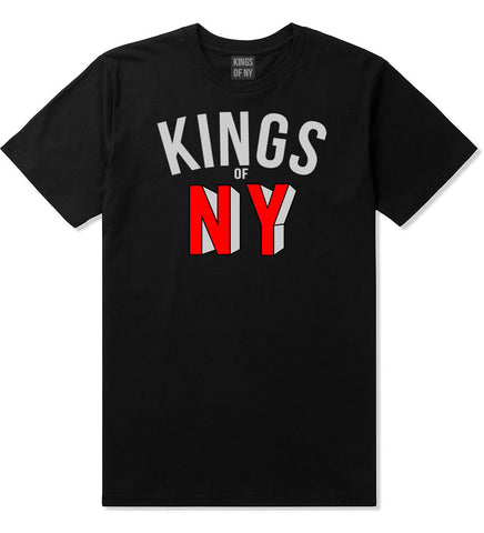 NY Red Block Letter Printed T-Shirt in Black by Kings Of NY
