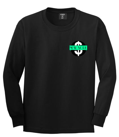 New York Mint Chest Logo Long Sleeve T-Shirt in Black By Kings Of NY